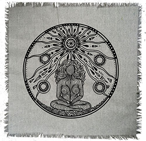 Printed Linen Goddess Sacred Geometry Crystal Grid Altar Cloth