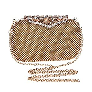 Women's Crystal Rhinestone Clutch Bag Solid Color Chain Shoulder Messenger Bag Mini Evening Mobile Phone Case Gold/Silver/Black Size: 16 * 5.5 * 9.5cm Fashion (Color : Gold)