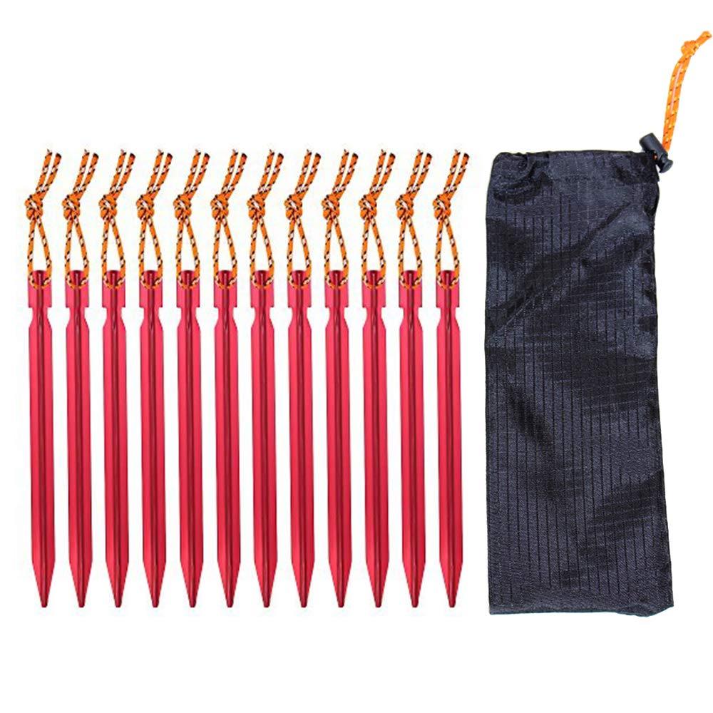 10 Piquets de Tente Sardine Tente en Alliage dAluminium Longueur de 18cm avec Corde pour Camping et Randonn/ée