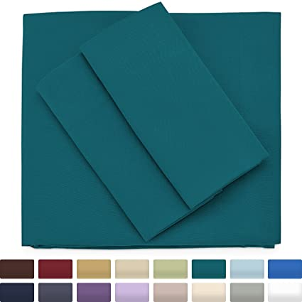 Premium Bamboo Bed Sheets   Full Size, Dark Teal Sheet Set   Deep Pocket