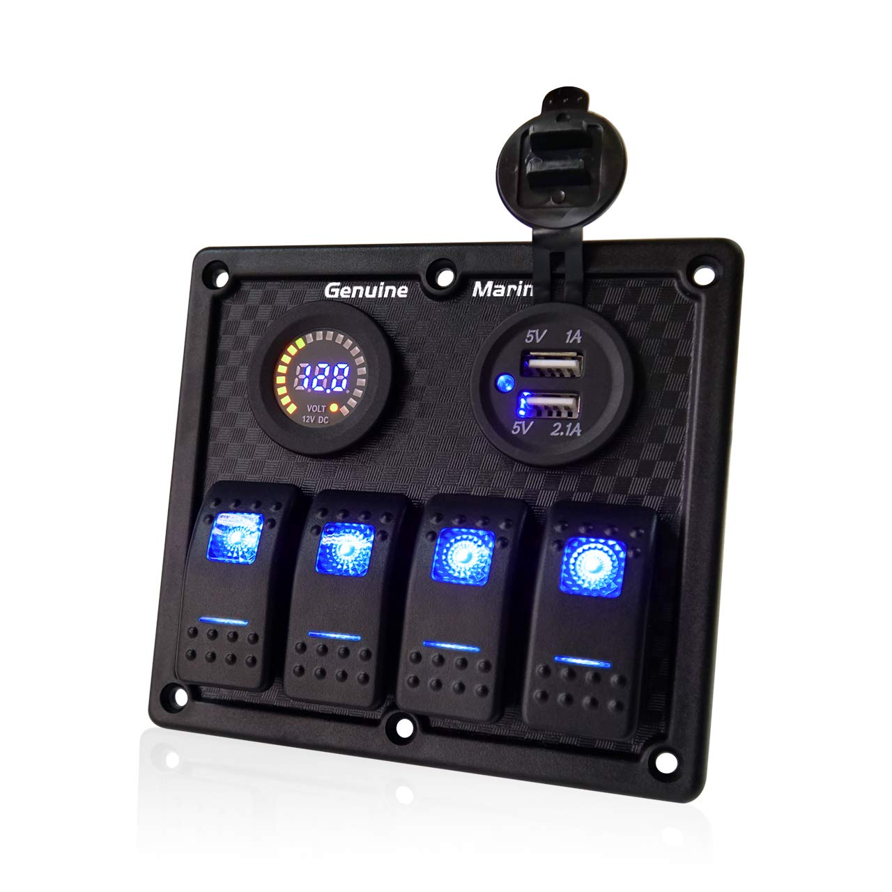 4 Gang Contura Switch Waterproof Panel - Digital Voltmeter Display with Blue LED, 12V Circuit Breaker Universal Control Switcher with 5V 3.1A USB Mount DC Charger Socket, for RV Boats Cars Motor-House by Genuine Marine
