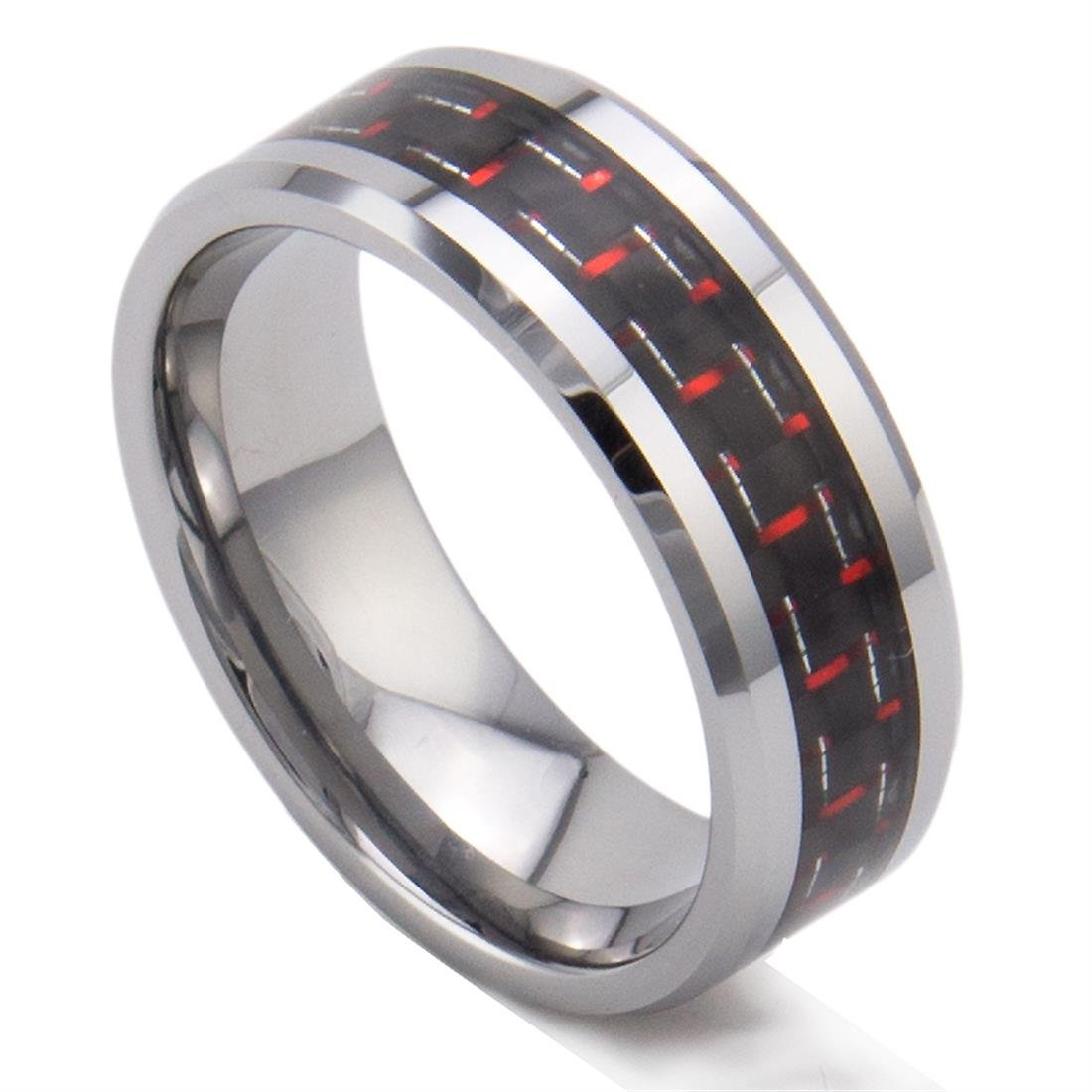 King Will 8Mm Tungsten Carbide Red Black Carbon Fiber Inlay Men's Ring Weddin.. 14
