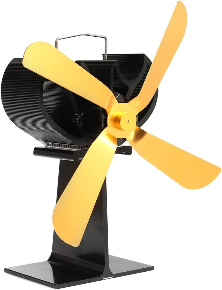 Tutoy 4 Hojas de Combustible de Ahorro de Calor Ventilador de Estufa para Chimenea de Leña Quemador Eco Friendly