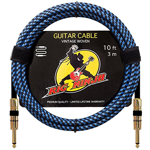 Price comparison product image RIG NINJA INSTRUMENT CABLE for Serious Musicians,  Quality Electric Guitar Cord for a Clean Awesome Tone to the Amp,  Solid & Durable Cables that Look Great,  Low Noise Cords for Guitars & Bass