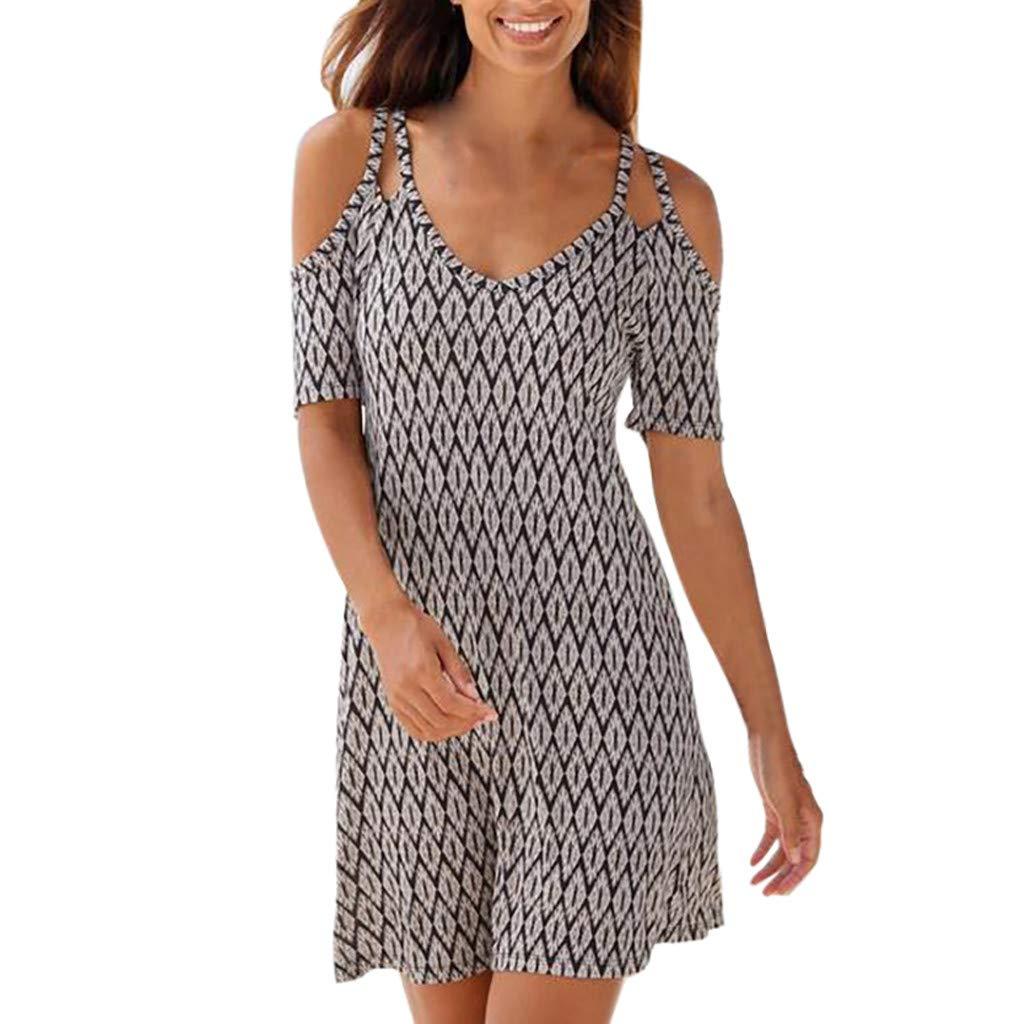 Women's Sexy Cold Shoulder Short Sleeve Midi Dress Geometric Pattern Boho Style Loose Sundress Vintage Sling Dresses (XXL) by Cealu (Image #1)