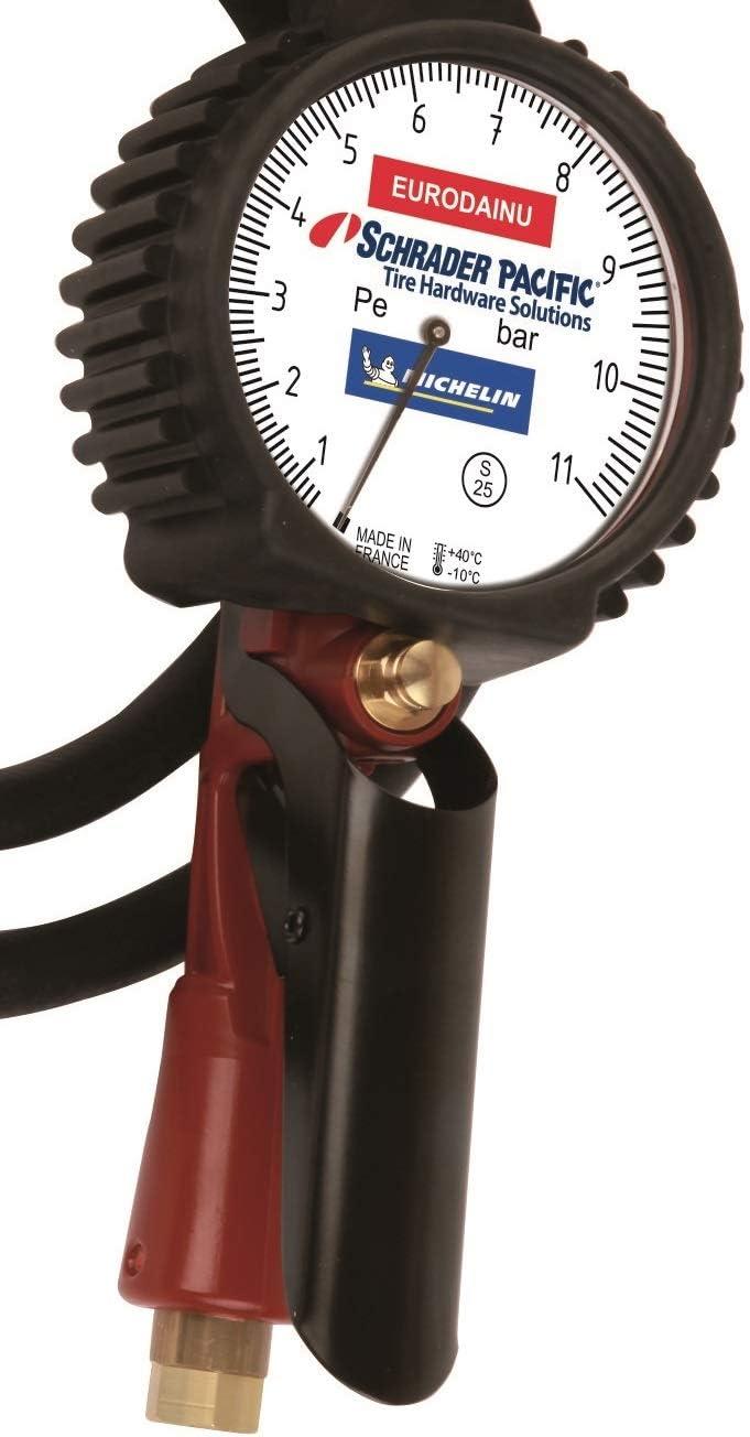Schrader Professioneller Reifendruckmesser Genehmigt Von Michelin 0 7 11 Bar Manometer Schlauch Mit Einem Durchmesser Von 80 Mm Und Einer Länge Von 1 5 M Baumarkt