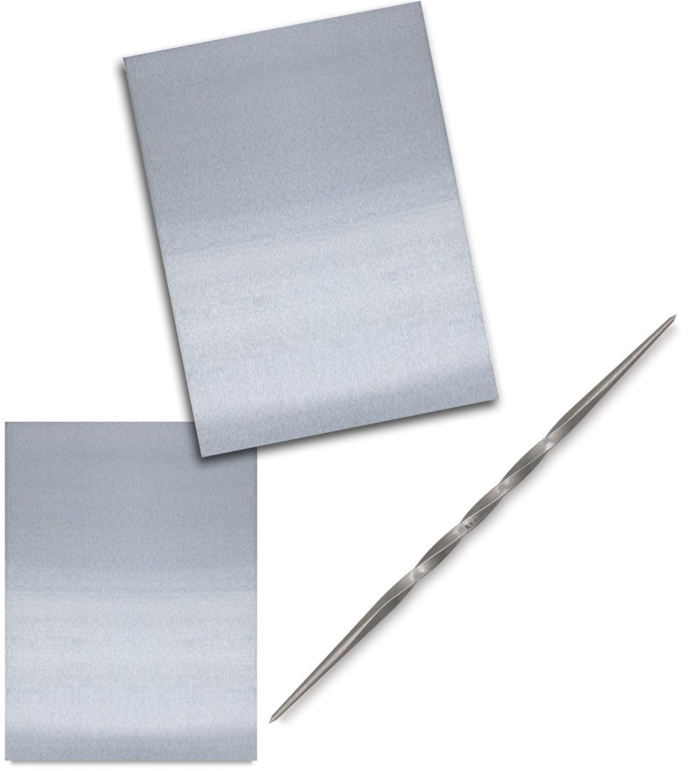 Etching Plate Toolkit 2 Zinc Plate Polished Sizes & Twisted Etching Needle Tool for fine Lines Solid Steel Double Sided (Small) by AYB Products