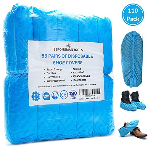 Strongman Tools | 110 Pack Extra Thick Disposable Shoe & Boot Covers | Durable & Water Resistant | Anti-Slip | One Size Fits Most