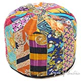 Eyes of India 16 X 10 Colorful Kantha Round Ottoman Pouf Pouffe Cover Boho Bohemian Indian