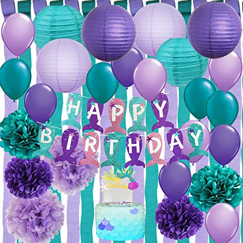 Furuix Mermaid Birthday Party Decorations/Under The Sea Party Teal Purple Tissue Paper Pom Poms Latex Ballons Crepe Paper Streamers Mermaid Happy Birthday Banner for Mermaid Baby Shower ()