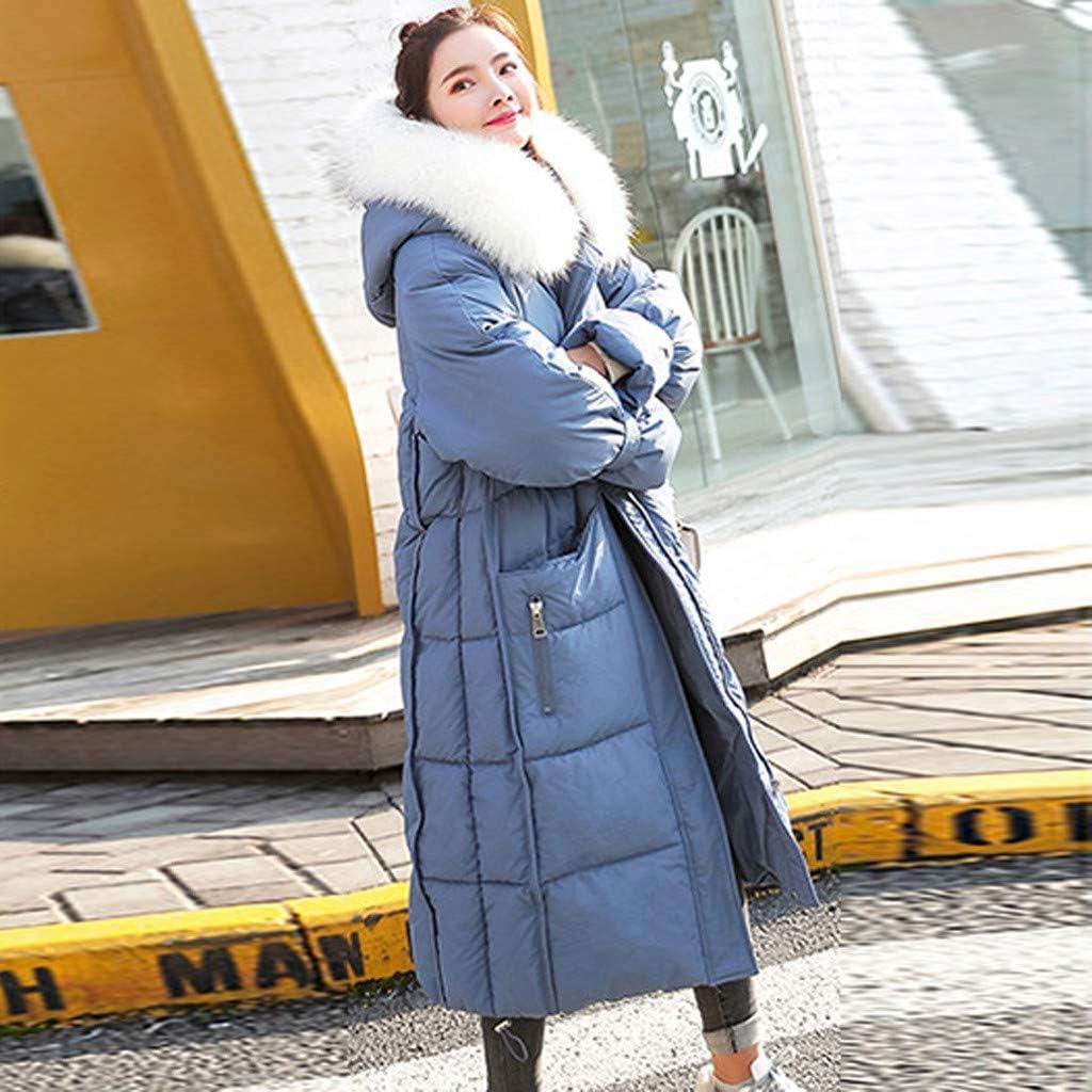 DeHolifer Elegante Frauen Mantel Jacke Mit Plüsch Kapuze Langen Abschnitt Mode Mädchen Plain Langarm Jacke Warm Bleiben Mantel Jacke Mantel Blau