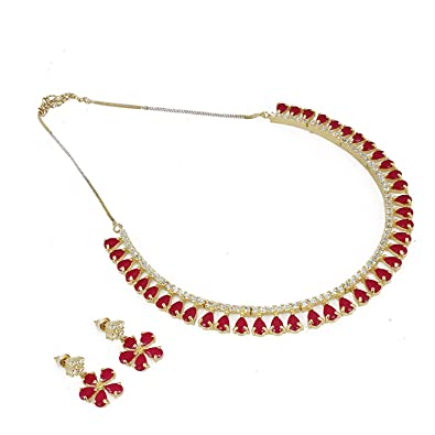 766662ce98 Aradhya Designer Sleek Ruby Stone American Diamond Necklace Set for Women:  Amazon.in: Jewellery