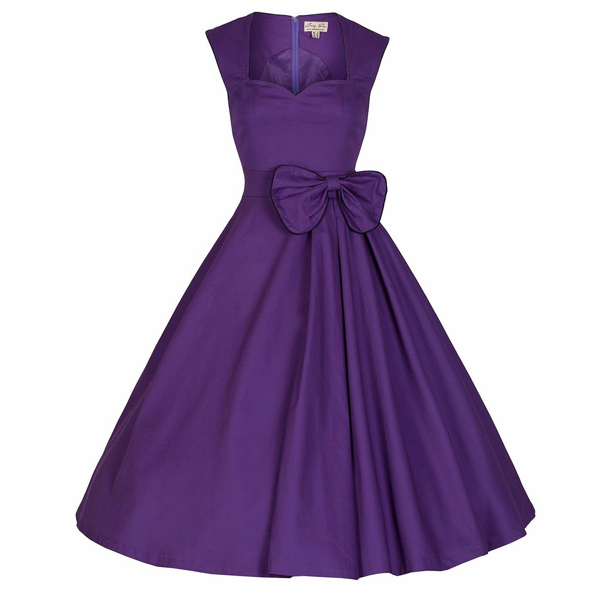 Samtree Women's Vintage 1950s Style Sleeveless Bownot A-Line Cocktail Party Swing Dress(S(2),Purple)