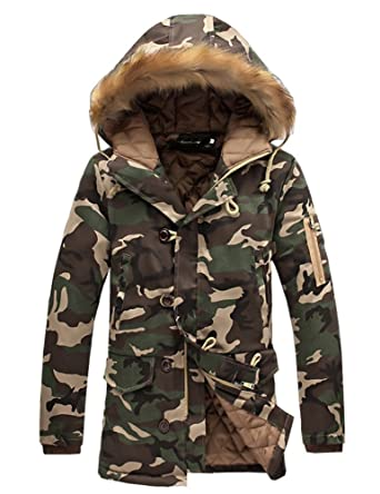 3ac60adb7d523 DSDZ Mens Winter Thick Warm Camouflage Parka Long Thermal Jackets and Coats  with Fur Hood at Amazon Men's Clothing store: