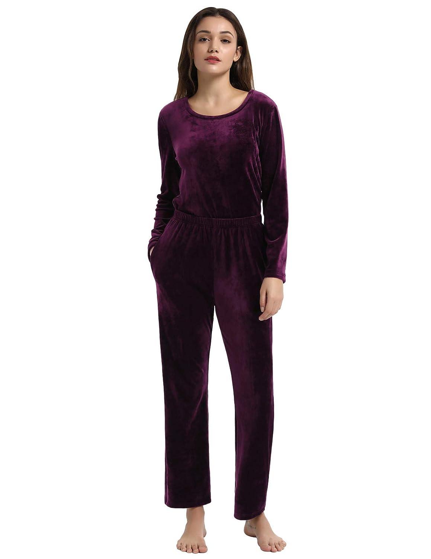 6d90bc2ad Zexxxy Women Soft Pajama Set Long Sleeve Sleepwear Fleece Pj Set at ...