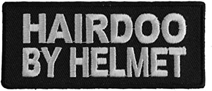 Embroidered Hairdoo By Helmet Sew or Iron on Patch Biker Patch