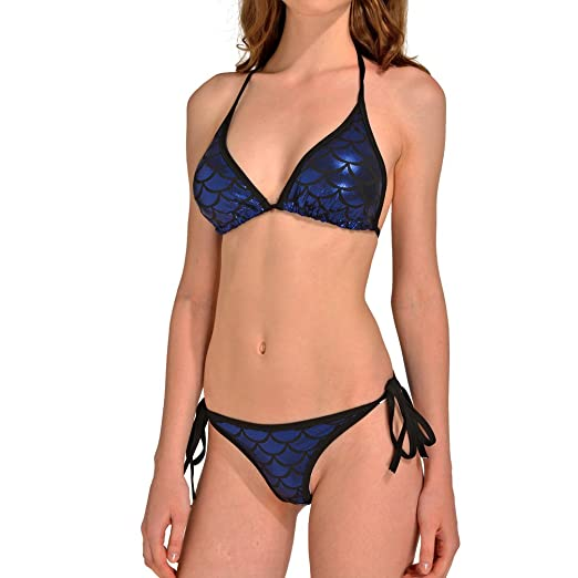 e6fb70ed3c9 Amazon.com: Lesubuy Shiny Blue Mermaid Tail Cute Fish Scales Strappy Halter  Triangle Bikinis Sets Two Piece Swimsuits for Women: Clothing