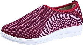 Femmes Hommes Mesh Respirant Flats Mocassins Chaussures Bout Rond Talon Plat Antidérapant Glisser sur des Chaussures De Course Décontractées Marche Stripe Sneakers