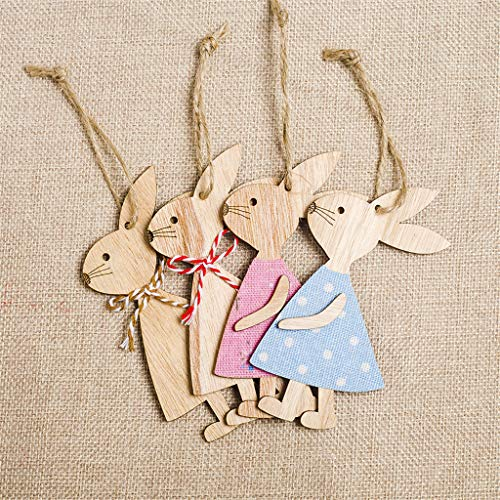 Garish  Easter Handmade Rabbit Bunny Wooden Pendant Hanging Decoration Mini Home Decor by Garish (Image #3)