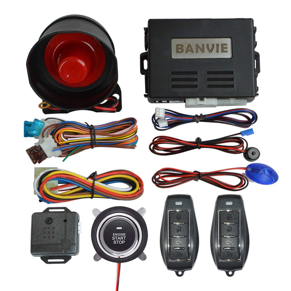 BANVIE Auto Security Alarm System with Smart Engine Start Buttton and Remote Starter (1-Way Alarm + Remote Starter + Push Start Stop But)