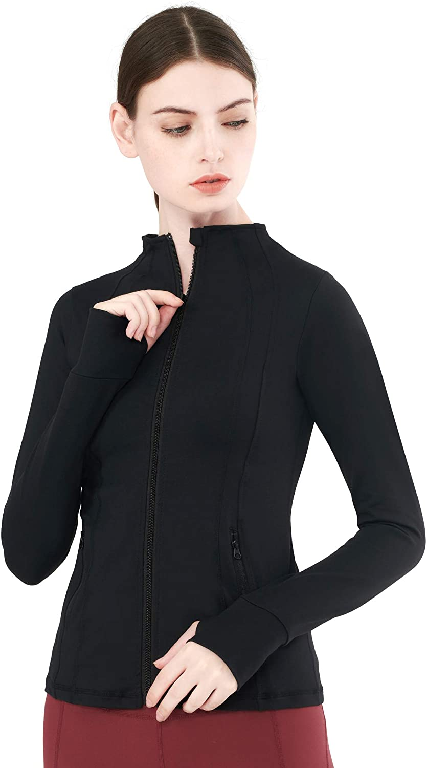 Zeronic Women's Collar Pockets Casual Zip Jacket with Thumb Holes at  Women's Clothing store