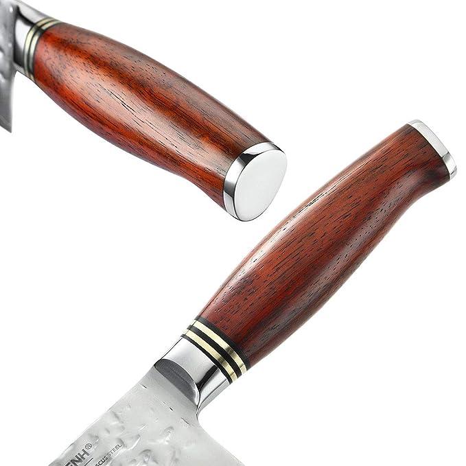 Amazon.com: yarenh damasco cuchillo japonés Nakiri (Usuba ...