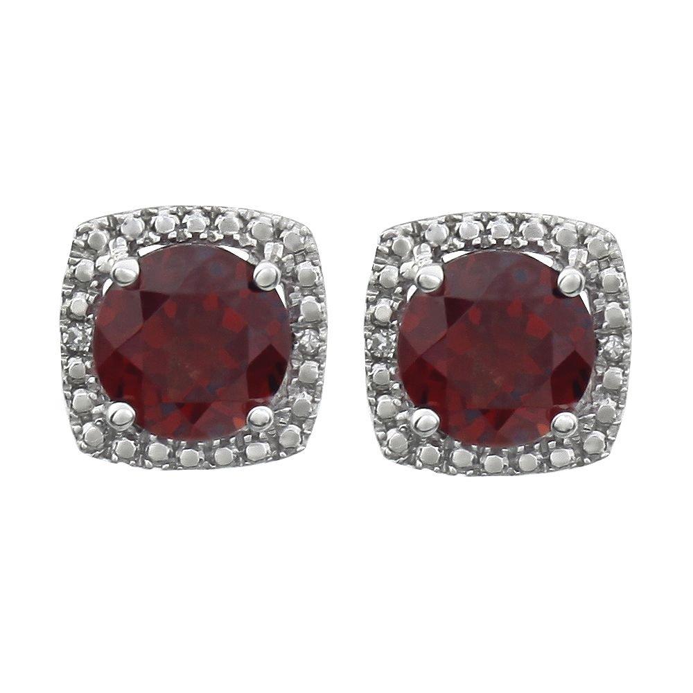 FB Jewels Set 925 Sterling Silver Genuine Mozambique Garnet Pair Polished .015 CTW Diamond Birthstone Earrings