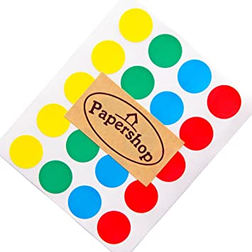 Coloured Dot Stickers by Papershop (x60) - 2cm Red, Blue, Green &