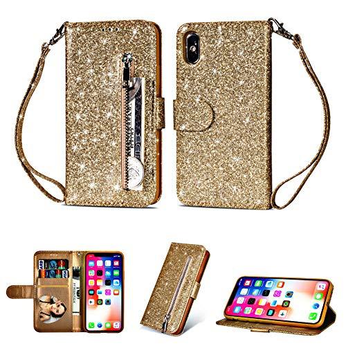 iPhone XR Glitter Phone Case-iPhone XR Bling Leather Wallet Flip Kickstand Cover Card Holder Purse Case[Heart Photo Window] [Detachable Wrist Lanyard] [Zipper Coin Pocket] (Gold, iPhone XR)