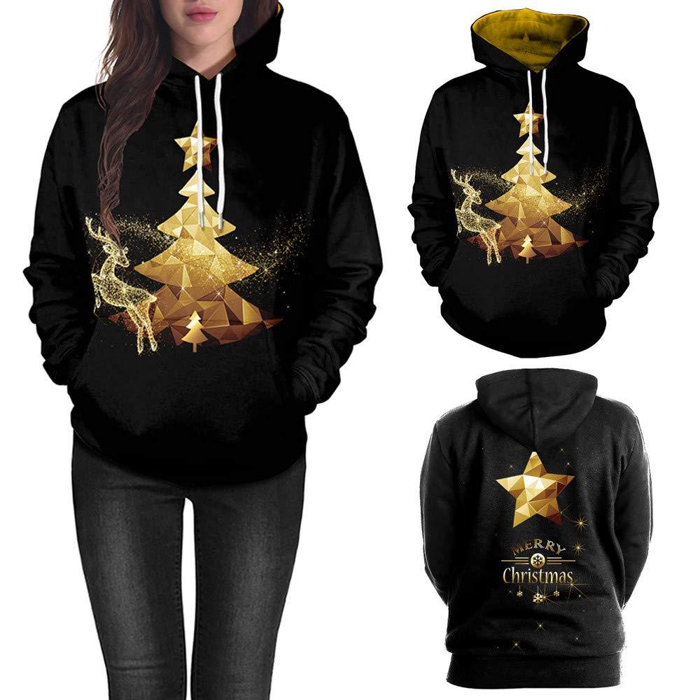 Hanomes Damen pullover, Damen Weihnachtsbaum Elch Print Langarm Caps Tops Sweatshirts