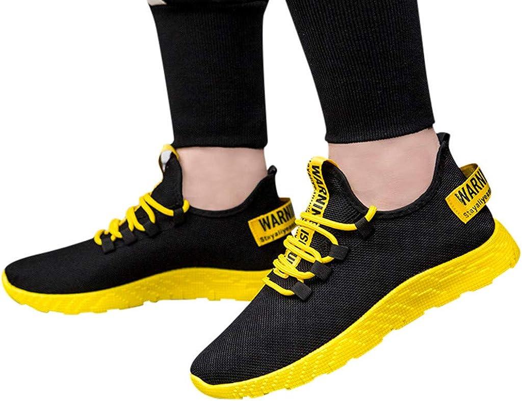 Routefuture Chaussures de Sport Running Basket Homme Femme Course Trail Entraînement Fitness Tennis Respirantes Baskets Mode Sneakers Homme Chaussures Décontractées Jaune