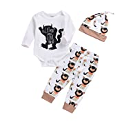 Newborn Baby Boy Clothes Monster Cartoon Letter Rompers Jumpsuit Tops Pants Clothes Summer Short Clothes (0-6 Months, White)