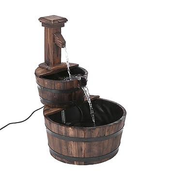 Delicieux IKAYAA 3 Tier Wood Barrel Garden Water Fountain With Pump Leak Proof  Cascading Water Feature