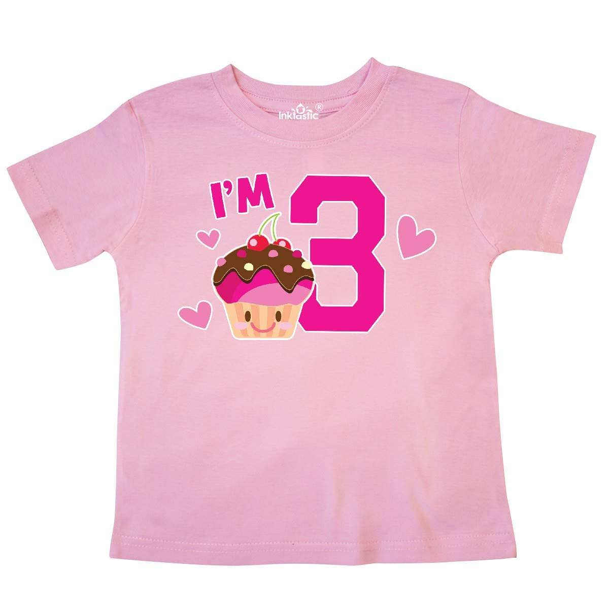 inktastic Im 3 with Cute Cupcake and Hearts Toddler T-Shirt