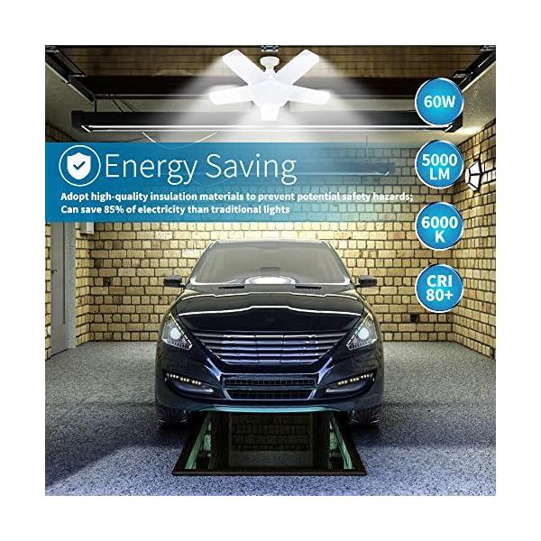 ALOVECO LED Garage Lights, LED Garage Ceiling Lights 60W 6000LM, E26/E27,CRI 80, 6000K Daylight White with 5 Adjustable… 6
