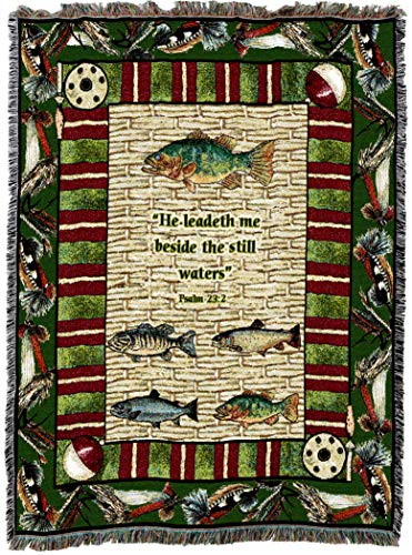 Pure Country Weavers | Memorial Gone Fishing Sympathy Gift Funeral Bereavement Blanket | Woven Tapestry Cotton USA (Gone Fishing Gift)