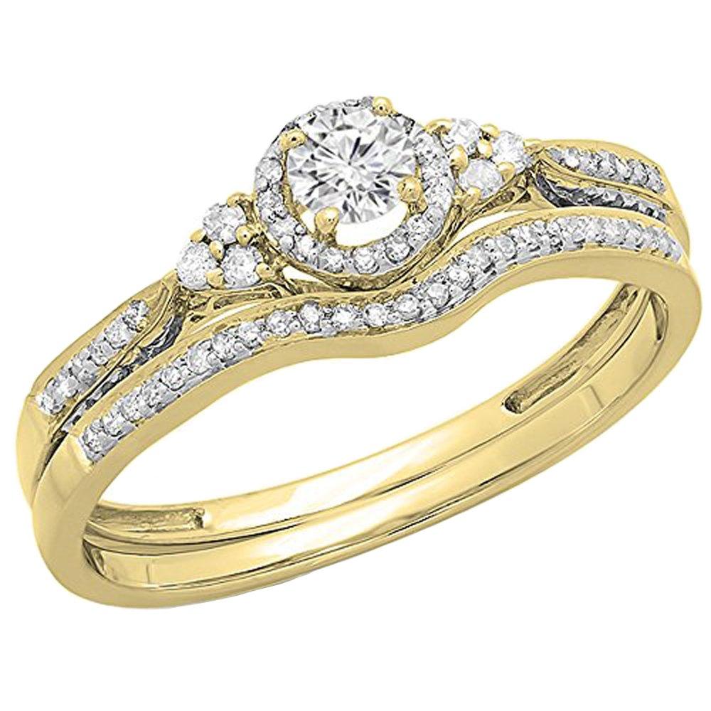 0.33 Carat (ctw) 14K Yellow Gold Round Diamond Ladies Bridal Engagement Ring Set 1/3 CT (Size 7)