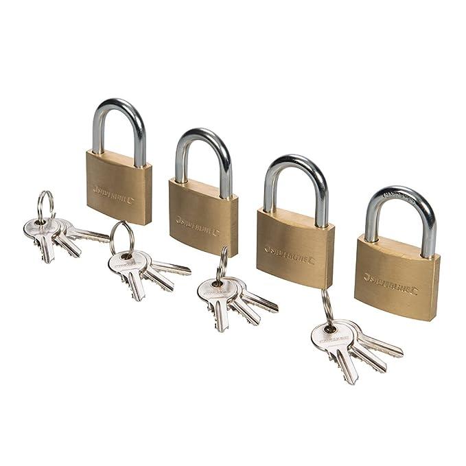 Silverline 675152 - Candados con una sola llave, 4 pzas (40 mm): Amazon.es: Bricolaje y herramientas