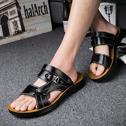 Il nuovo estate vera pelle Uomini sandali Tempo libero scarpa Uomini Inghilterra scarpa pelle sandali Spiaggia scarpa tendenza ,nero,US=9,UK=8.5,EU=42 2/3,CN=44