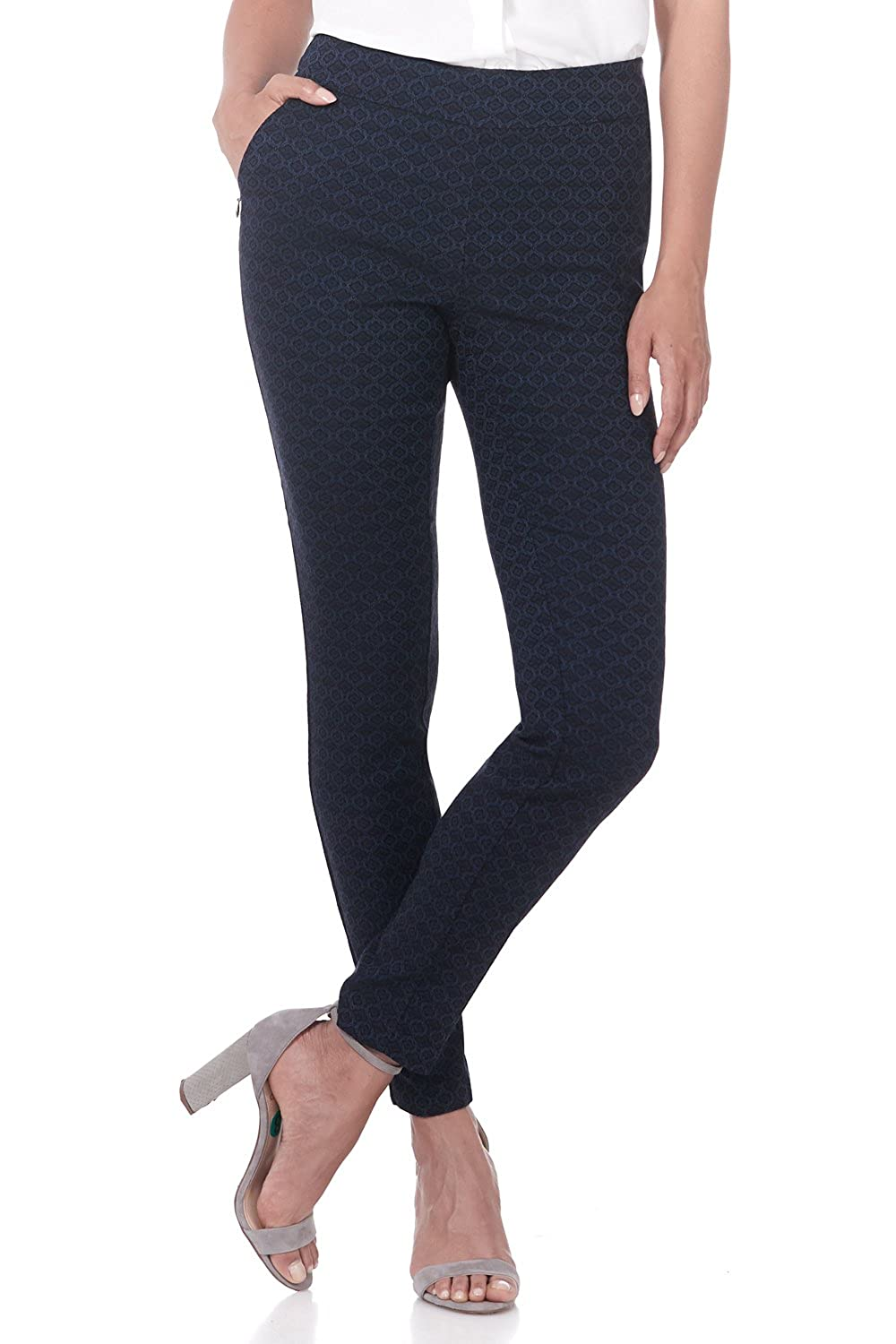 Navy Floral Rekucci Women's Ease in to Comfort Modern Stretch Skinny Pant w Tummy Control