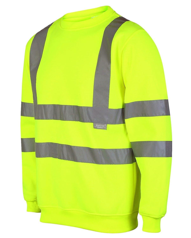 Mens Hi Viz Round Neck Safety Sweatshirt Visability Workwear Work Jumper Sweat