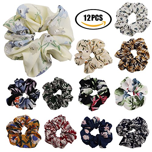 (Hair Scrunchies 12 Pcs Elastics Hair Scrunchies for Girls Women Colorful Elastics Scrunchy Hair Bobbles Soft Hair Bands Hair Ties Headband, 12 Style)