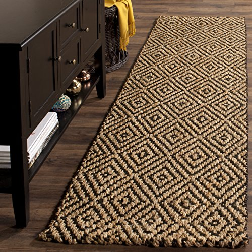 Safavieh Natural Fiber Collection NF181C Hand Woven Natural and Black Jute Runner (2'3