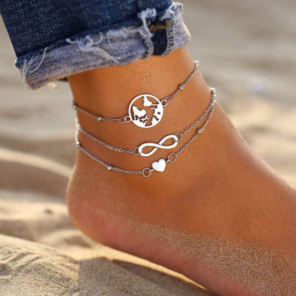 DMUEZW Juego de Tobilleras para Mujer Pulsera de Tobilleras Doradas de Astilla Vintage en la Pierna Descalzo DIY Foot Jewelry de Moda