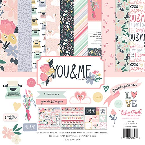 Echo Park Paper Company YM168016 You & Me Collection Kit Paper, Blue, pin, Purple, Pastel, Yellow, Green