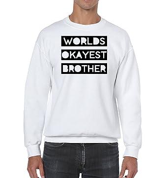 AW Fashions Worlds Okayest Brother - Best Buddy Unisex Crewneck Sweatshirt (Small, White)