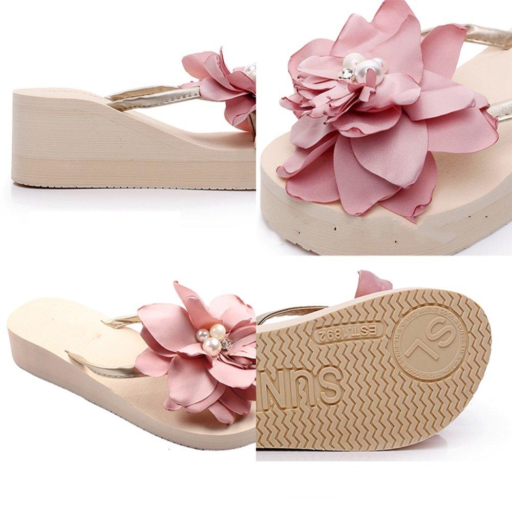 Color : Beige, Tama/ño : EU35//UK3//CN34 Sandalias Feifei Mujeres del Verano Zapatos Antideslizantes Romanos Zapatillas de Moda Bohemia Flores Clip Toe Seaside Beach Shoes 3CM