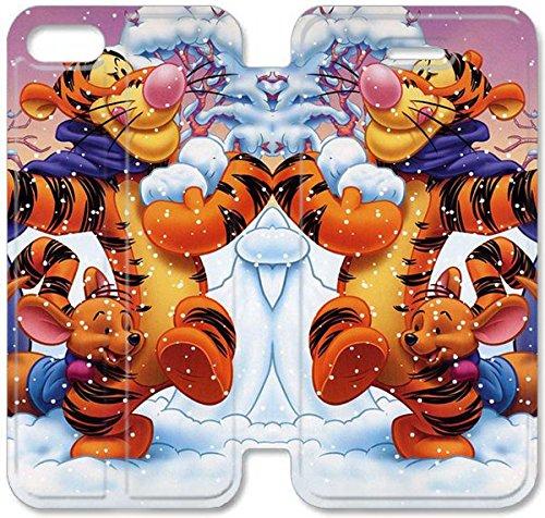 Flip étui en cuir PU Stand pour Coque iPhone 5 5S, bricolage 5 5S cas de téléphone cellulaire Tigrou J5J2ME Heavy Duty Coque iPhone étuis en cuir