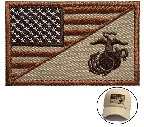 USA American Flag w/ Marine Corps USMC Military Tactical Morale Badge Patch (Brown) by U-Lian