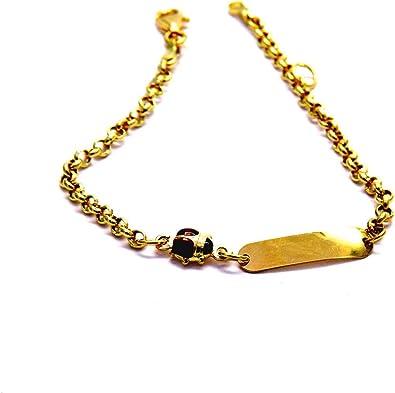 Bracciale Oro Battesimo Bambino.Bracciale Oro Giallo 18kt 750 Piccolo Con Coccinella Targhetta